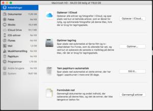 Detaljeret lagringsplads på Mac