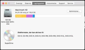 Lagringsplads på Mac
